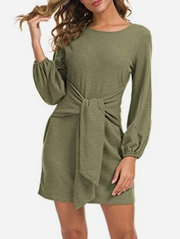 Crew Neck Solid Front Twisted One Piece Dress