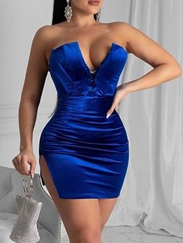 Night Club Slit Sexy Strapless Dress