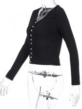 Button Up V Neck Short Cardigans For Women