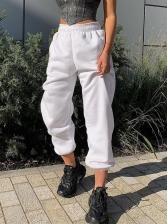 Elastic Waist Solid Color Women Jogger Pants