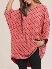 Casual Bat Sleeve Loose T Shirt Printing