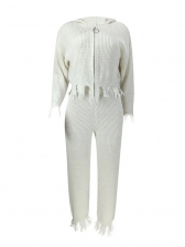 Ragged Hem White Woolen Hooded 2 Piece Outfits