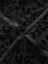 See Through Mock Neck Leopard Print Bodysuit