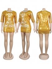 Crew Neck Letter Sequin Long Sleeve T-Shirt Dress