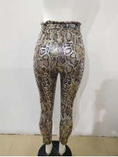 Fashion High Waist Snake Print Tight Pants