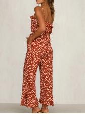 Printed Ruffled Bottom Sleeveless Wide Leg Jumpsuit