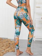 Leaf Printed Sleeveless High Waist Yoga Clothes