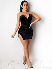 Night Club Slit Sexy Strapless Dress