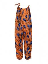 Adjustable Strap Printed Girls Jumpsuits