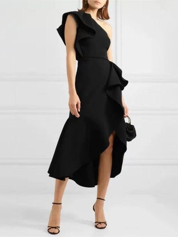 Inclined Shoulder Solid Ruffled Hem Midi Dress