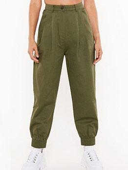 Versatile Pure Color High Waist Jogger Pants