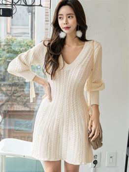 Korean Style V Neck White Long Sleeve Sweater Dress