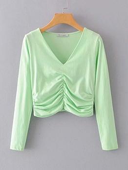 Back Zipper Ruched Green V Neck T Shirts