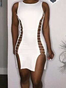 Hollow Out White Sleeveless Bodycon Dress