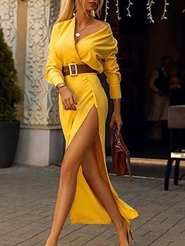 V Neck Solid Women Maxi Dress With Slit