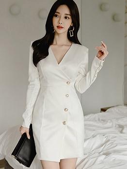 OL Style V Neck Single-Breasted White Long Sleeve Dress