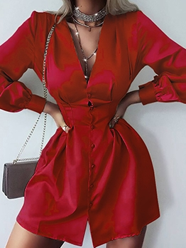 Pure Color Button Down Long Sleeve Dress