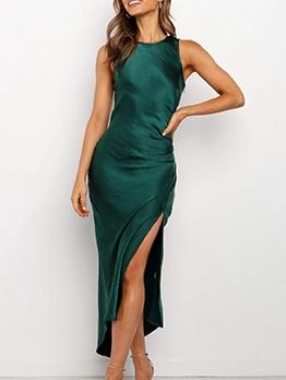 High Split Green Sleeveless Maxi Dress