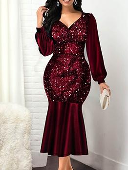 V Neck Lantern Sleeve Sequin Dress