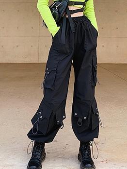 Fashion Pockets Black Long Pants For Women
