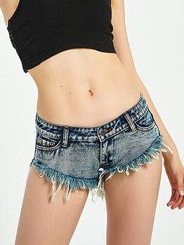 Summer Hot Sale Tassel Hem Mini Jean Shorts