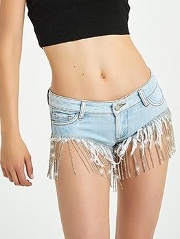 Tassel Rhinestone Hem Light Blue Mini Jean Shorts