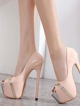 Patchwork Peep Toe Stiletto Platform Heels