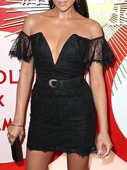 V Neck Eyelash Lace Bodycon Dress