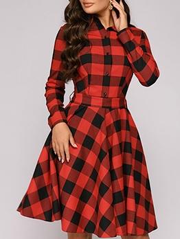 Large Hem Plaid Long Sleeve Casual Dresses