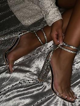 Sexy Transparent Chunky Rhinestone Heels