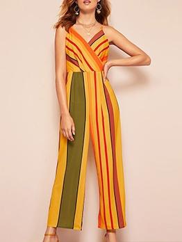 V Neck Striped Wide Leg Spaghetti Strap Jumpsuit