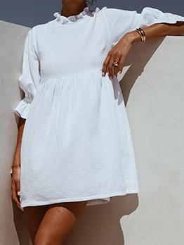 Stringy Selvedge White Long Sleeve Short Dress