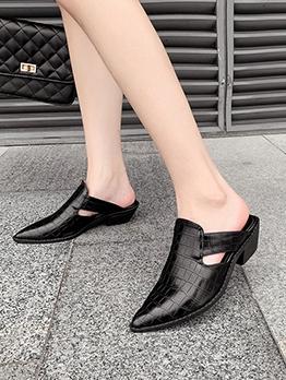 Black Embossed Low Chunky Fancy Slippers