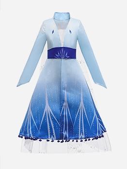 Gradient Color Frozen Elsa Cosplay Girls Two Piece Sets