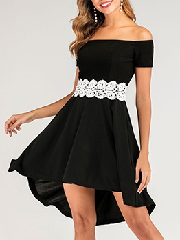 Off Shoulder Lace Panel Short Sleeve Black Dress
