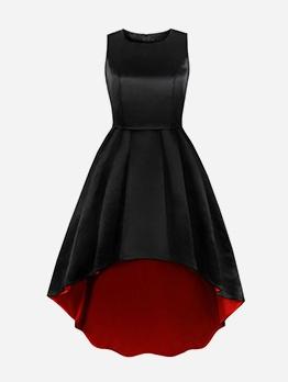 Elegant Sleeveless High-Low Black Party Dress
