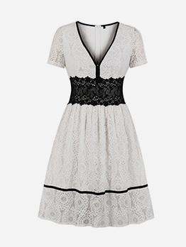 Trendy V Neck Short Sleeve Lace Dress