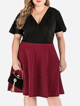 V Neck Short Sleeve Plus Size Dresses
