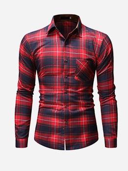Leisure Turn-Down Collar Plaid Shirts For Men