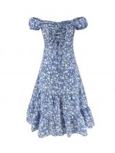 Vintage Off Shoulder Short Sleeve Floral Dress