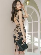 Vintage Print Open Back Sleeveless Dress