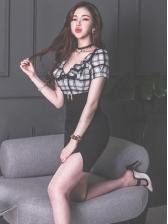 Empire Waist Plaid Patchwork Short Sleeve Dress