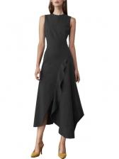 Ruffle Trim Solid Sleeveless Midi Dress