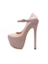 Patchwork Glitter High Heel Platform Sandals