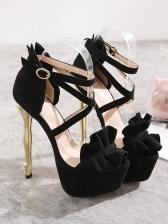 Ruffled Decor Metal Heel Platform Sandals