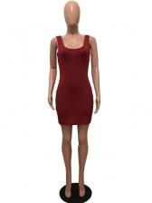 Casual Solid Color U Neck Two Piece Dress Set