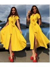 Single-Breasted Large Hem Short Sleeve Midi Dress