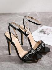 Letter Rhinestone Black Heel Sandal