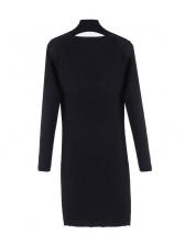 Perspective Patchwork Studded Black Knit Dress