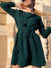 Sweet Solid Long Sleeve Short Dress